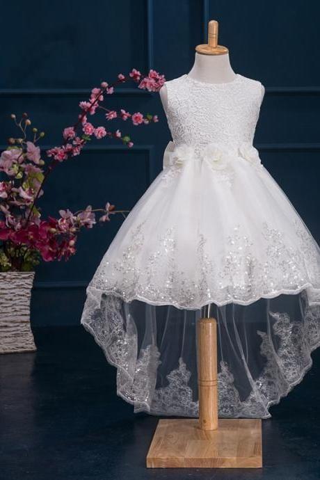 b7ec639897fe4 2017 New Flower Girl Dresses for Wedding Short Front Long Back Communion  Party Pageant Dress Girls Kids/Child Birthday Dress Kids11