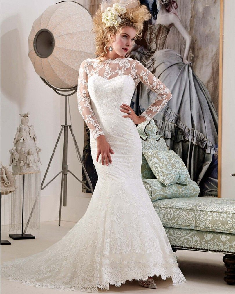 Long sleeve lace wedding dress mermaid  Click to Buy ucuc Fast Shipping  New Arrival Long Sexy Mermaid