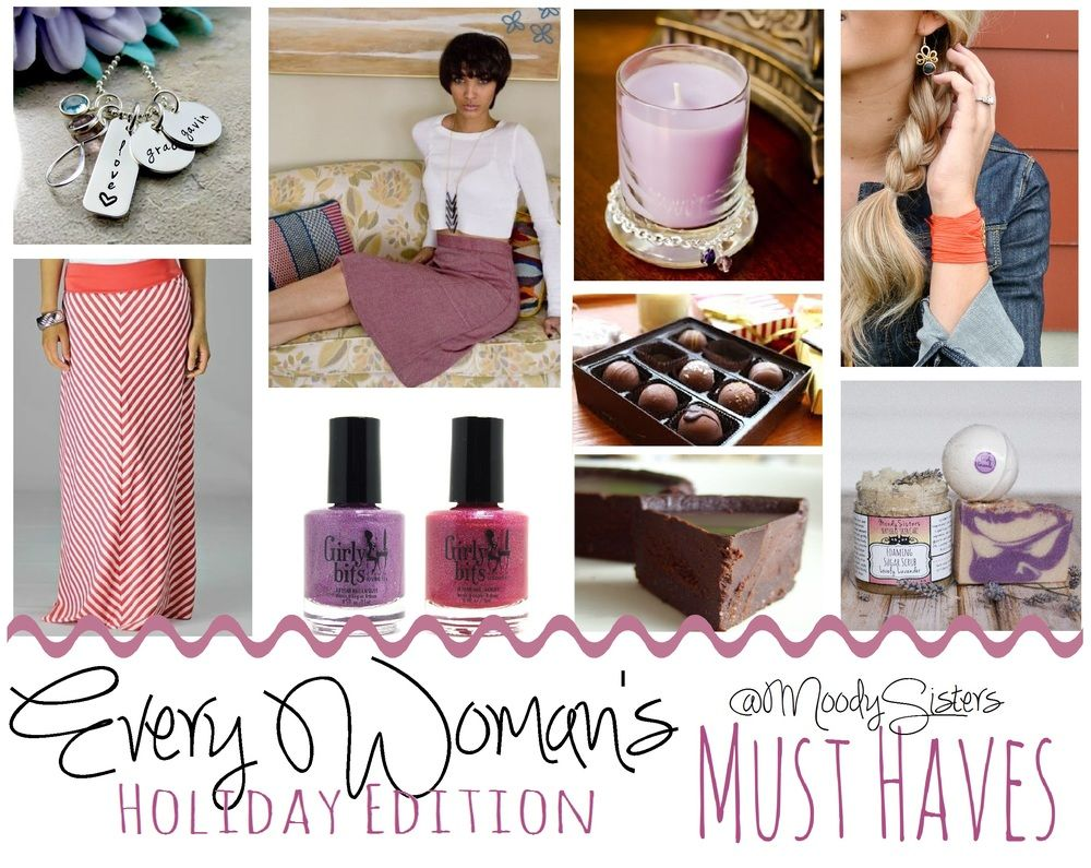 Holidays are fast approaching. I don't know how or when it turned into  November, but now there are only 5 weeks until Christmas. Whoa, now.  Thankfully, I have been searching and compiling the best handmade  products, women-owned companies, and small businesses to find every woman's  must-have gifts this holiday season. Not only have I found great gifts for  every lucky lady on your shopping list, but these companies stand out above  the rest. Support small businesses and real families…