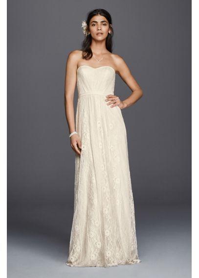 3f7dc24d987 Galina Strapless Linear Lace Sheath Wedding Dress WG3782