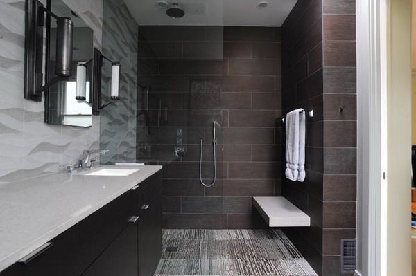 Shower Designs With Benches With Walk In Bathroom Shower Curbless Showe