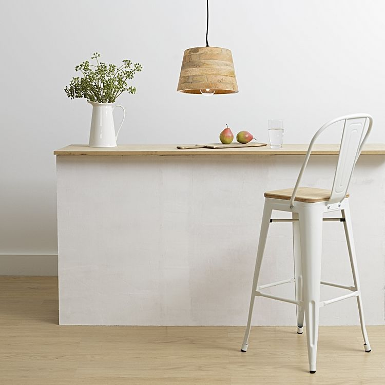 Replica Tolix Wooden Seat Bar Chair, White, 78cm By Simpel