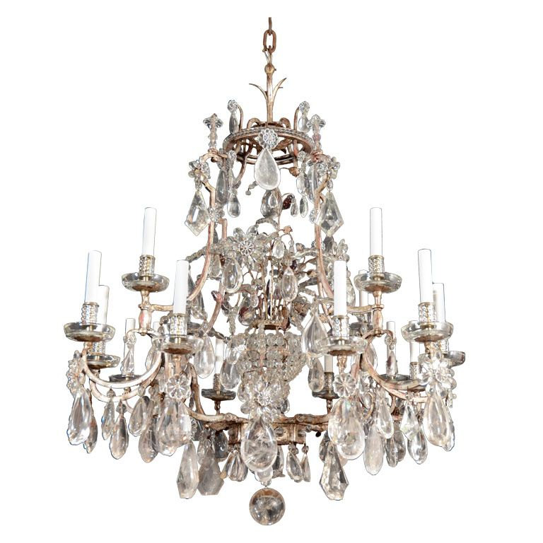 Rock crystal and silvered iron 17 light chandelier by BAGUES