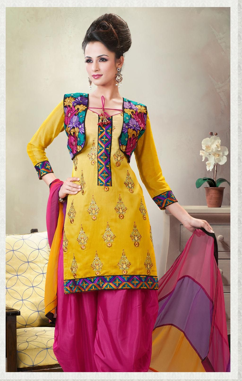 8fe3d754e7 $66.36 Gold Full Sleeve Cotton Short Salwar Kameez 21005 | Shhm love ...