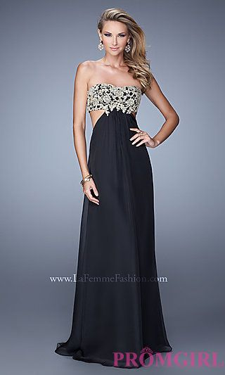Floor Length Strapless La Femme Prom Dress at PromGirl.com