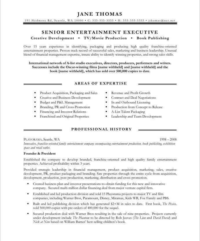 Entertainment Executive-Page1 Media  Communications Resume - Packaging Sales Sample Resume