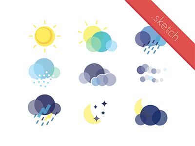 Flat Weather Icon Set, for kids, learn about sun, cloud