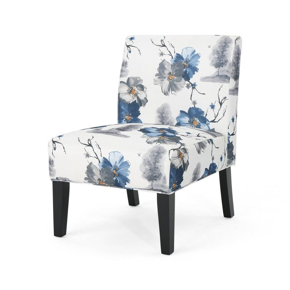 Best Kassi Accent Chair Blue Floral Christopher Knight Home 400 x 300