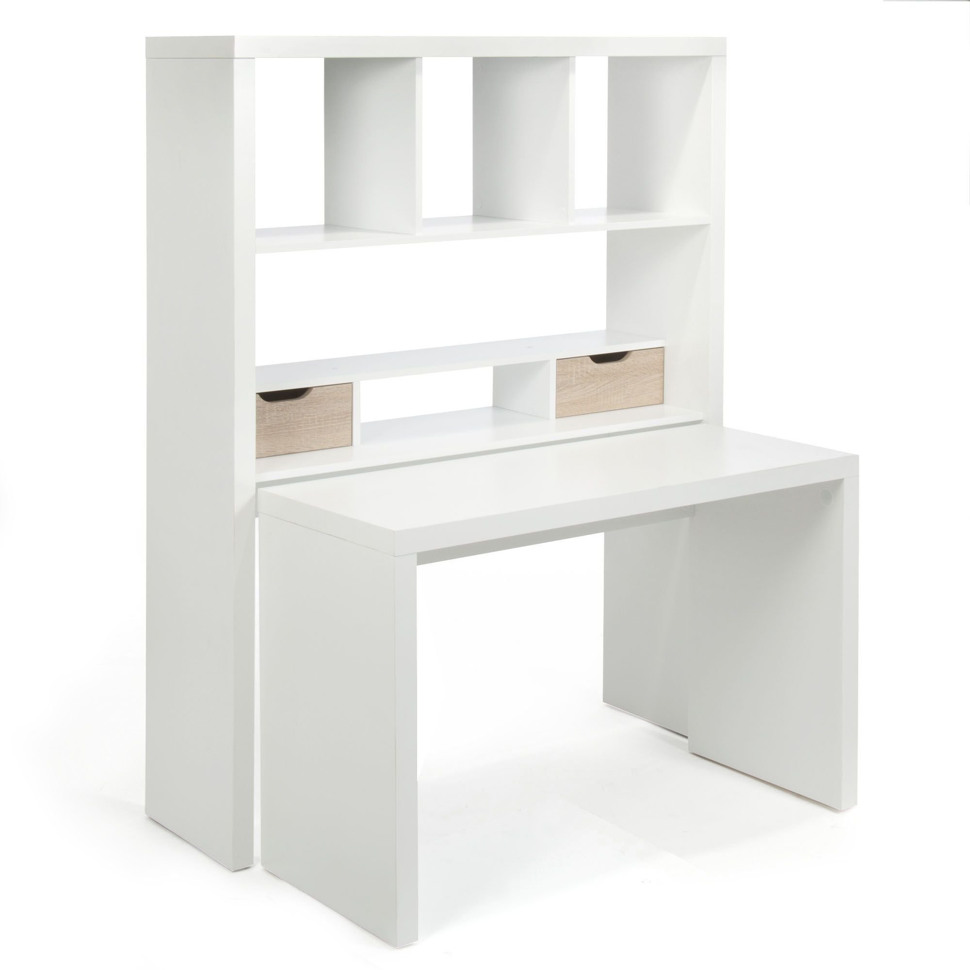 twisty bureau bureau modulable blanc avec tag res et tiroirs bureau modulable alin a et. Black Bedroom Furniture Sets. Home Design Ideas