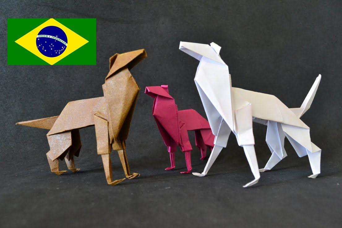 Origami: Cachorro - Instruções em português PT BR