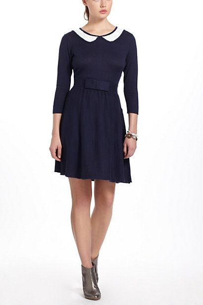 a20e6d9d942 navy 3 4 sleeve fit and flare dress with white peter pan collar and modern  bow detail at waist - Josie Sweater Dress at Anthropologie