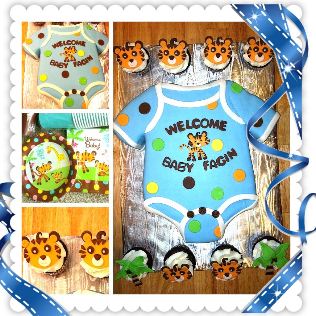 Cute Baby Shower Cake Onesie With Matching Cupcakes