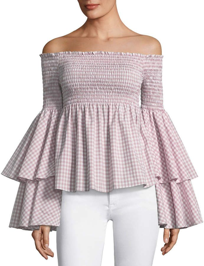 7eedbdae4d4d06 Caroline Constas Appolonia Off-the-Shoulder Bell-Sleeve Check-Print Top