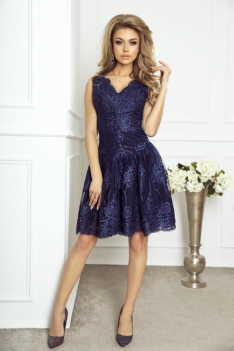 Rozkloszowana Sukienka Z Gipiury Granatowa Ii Mia Dresses Favorite Dress Dress And Heels