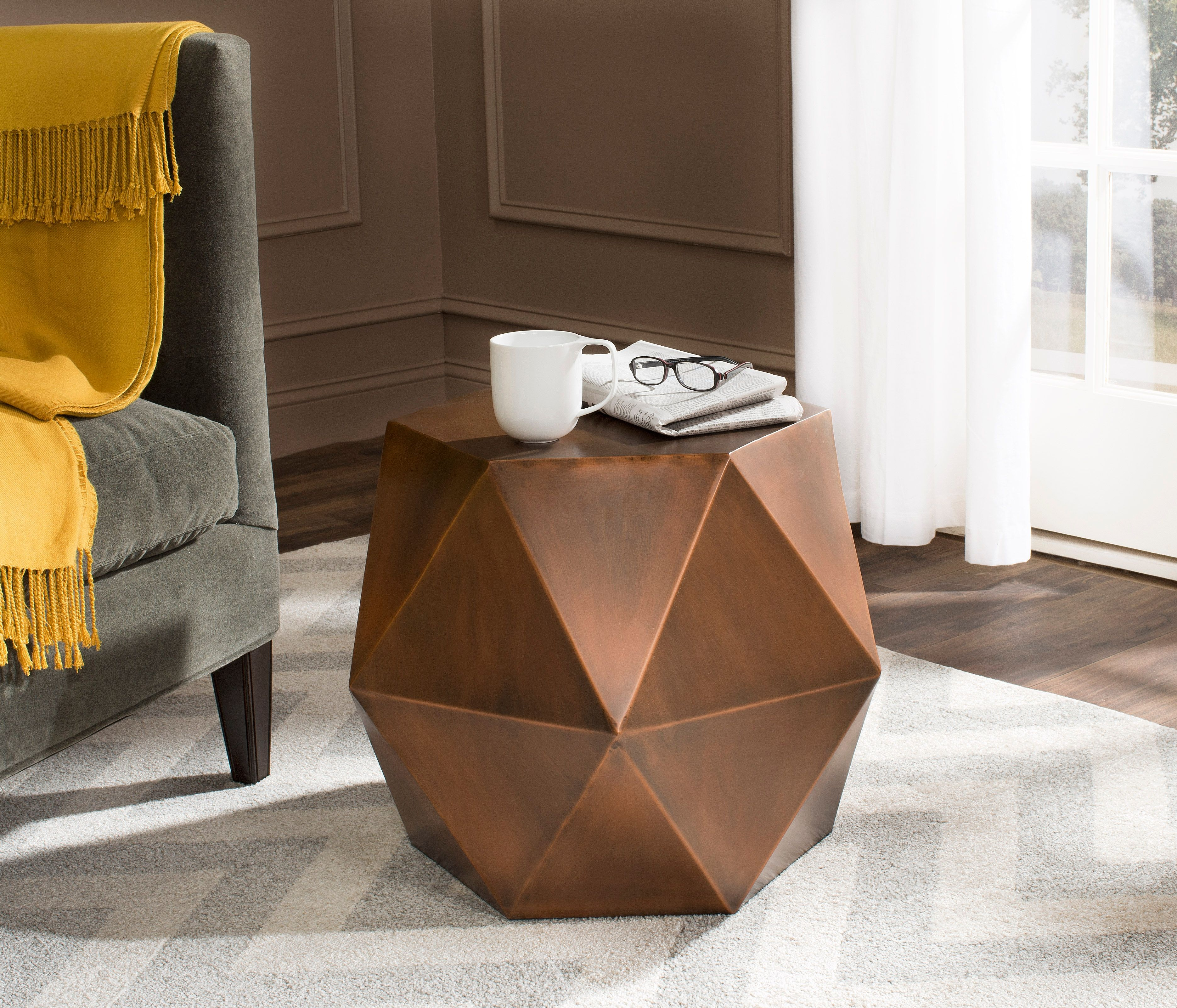 Safavieh Astrid Faceted Accent Table Ashley Furniture Homestore Unique End Tables Copper Side Table Finished Living Room [ 3202 x 3740 Pixel ]