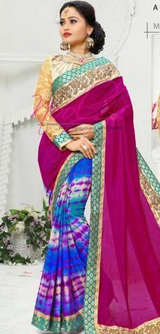 Plain Sarees Violet Crepe Patli Pallu Tie and Dye Printed SF3366D20139