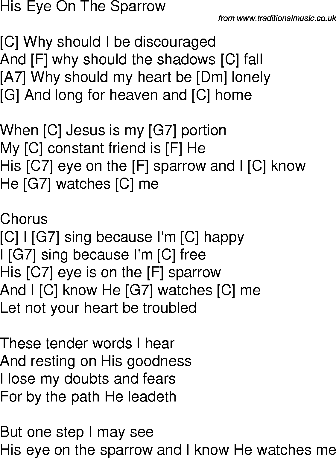 Old Time Song Lyrics With Chords For His Eye Is On The Sparrow C