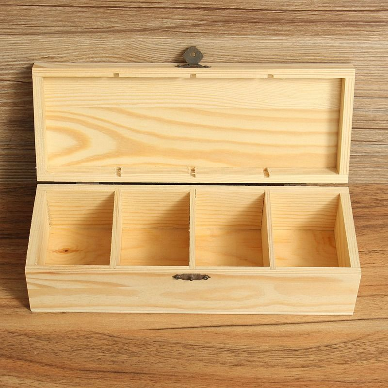 Vintage 4 Compartments Wooden Tea Box Jewelry Accessories Storage Container Pine Wood Tea Gift Store Box Case Container & Vintage 4 Compartments Wooden Tea Box Jewelry Accessories Storage ...