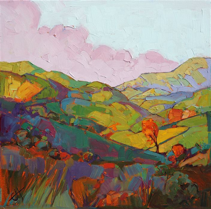 Abstracted geometic landscape oil painting by modern impressionist painter Erin Hanson
