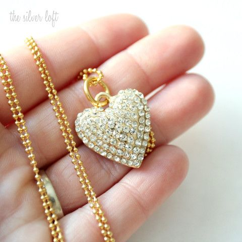 Gatsby Pave Heart Necklace