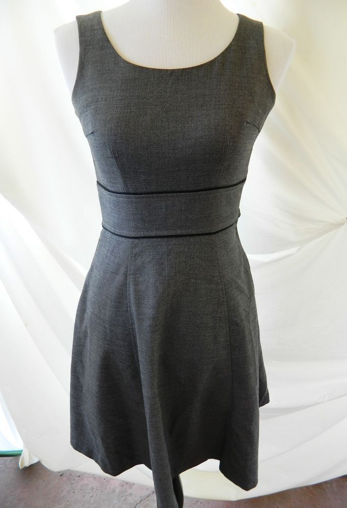 H&M Fit & Flare Sleeveless Career Dress Lined Heather Gray Size 2 #HM…