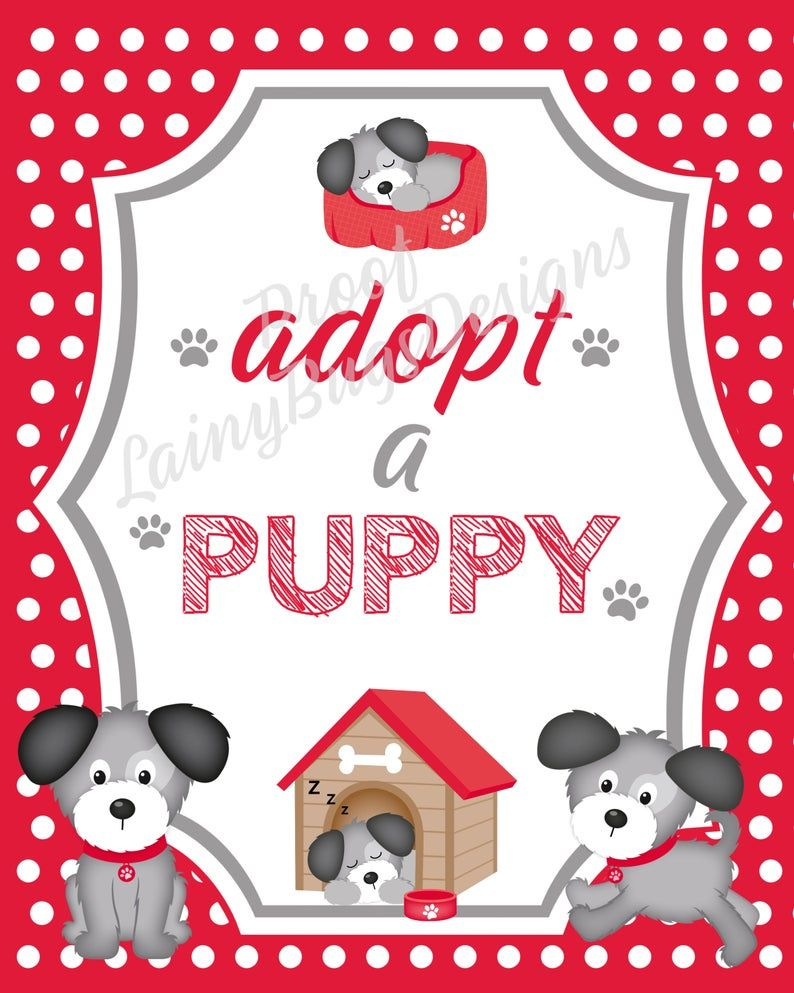Adopt A Puppy Sign Cute Puppy Party Decor Instant Download Etsy Puppy Party Puppy Sign Puppy Adoption