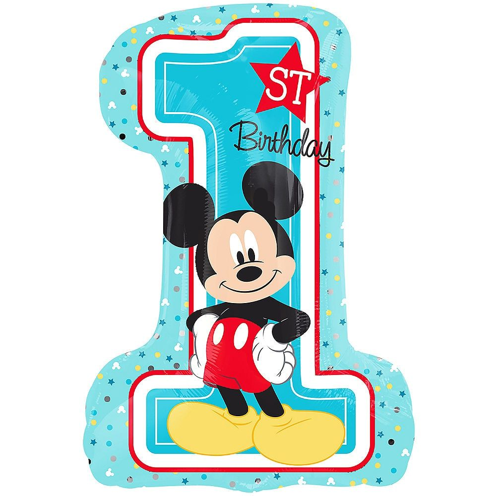 Giant 1st Birthday Mickey Mouse Balloon 19in x 28in in