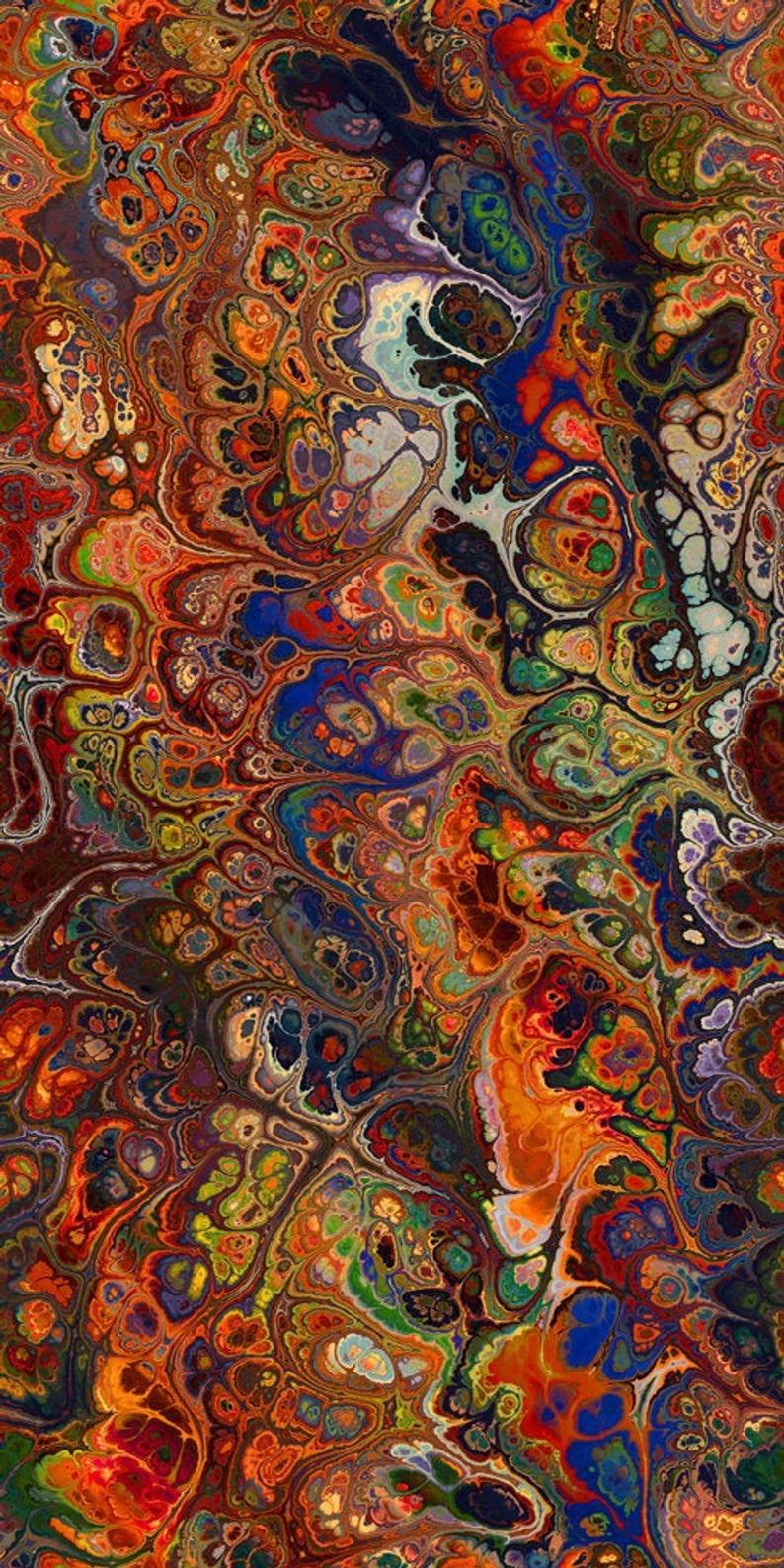 Velvet Upholstery Fabric Marble Swirls of Color Fall Tones Fiber Art Fiber Art