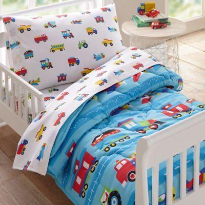 Wildkin Trains And Planes 4 Piece Toddler Bedding Set In