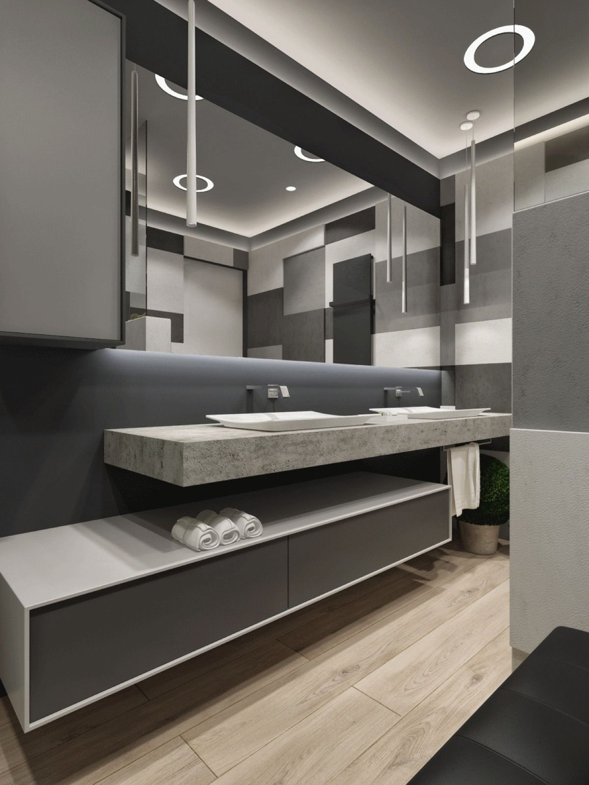 Modern Bathroom By Homify Modern: Two Apartments With Sleek Grayscale Interiors