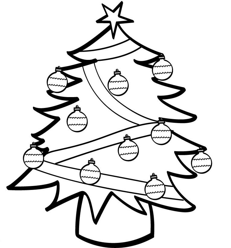 Christmas Tree Decorated Cool Coloring Page Printable Christmas Coloring Pages Christmas Tree Coloring Page Tree Coloring Page