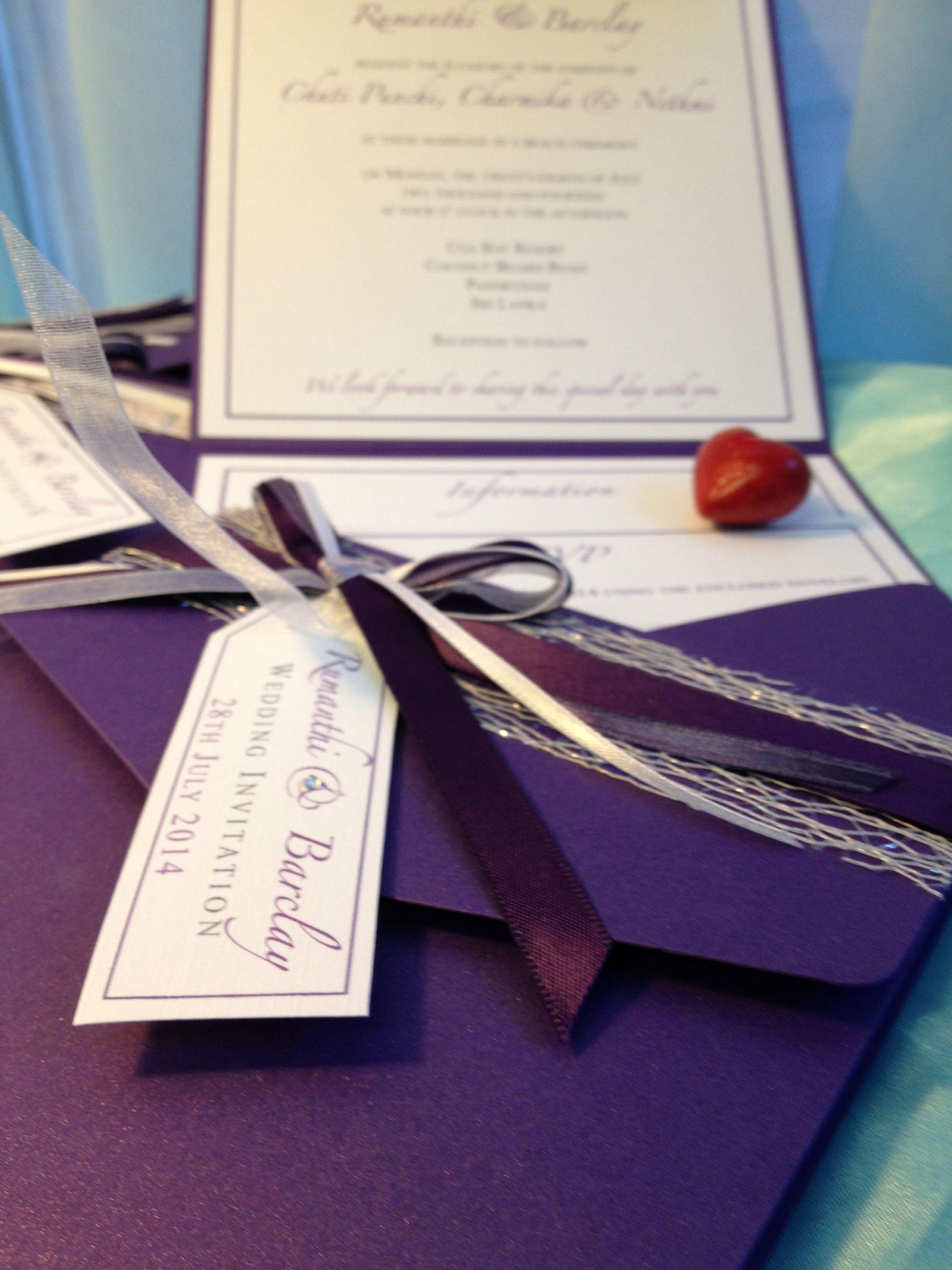 Purple Bespoke Wallet Wedding Invitation Handmade By Perfect Day Weddings Www Perfectday Weddings Wedding Invitations Handmade Wedding Invitations Invitations