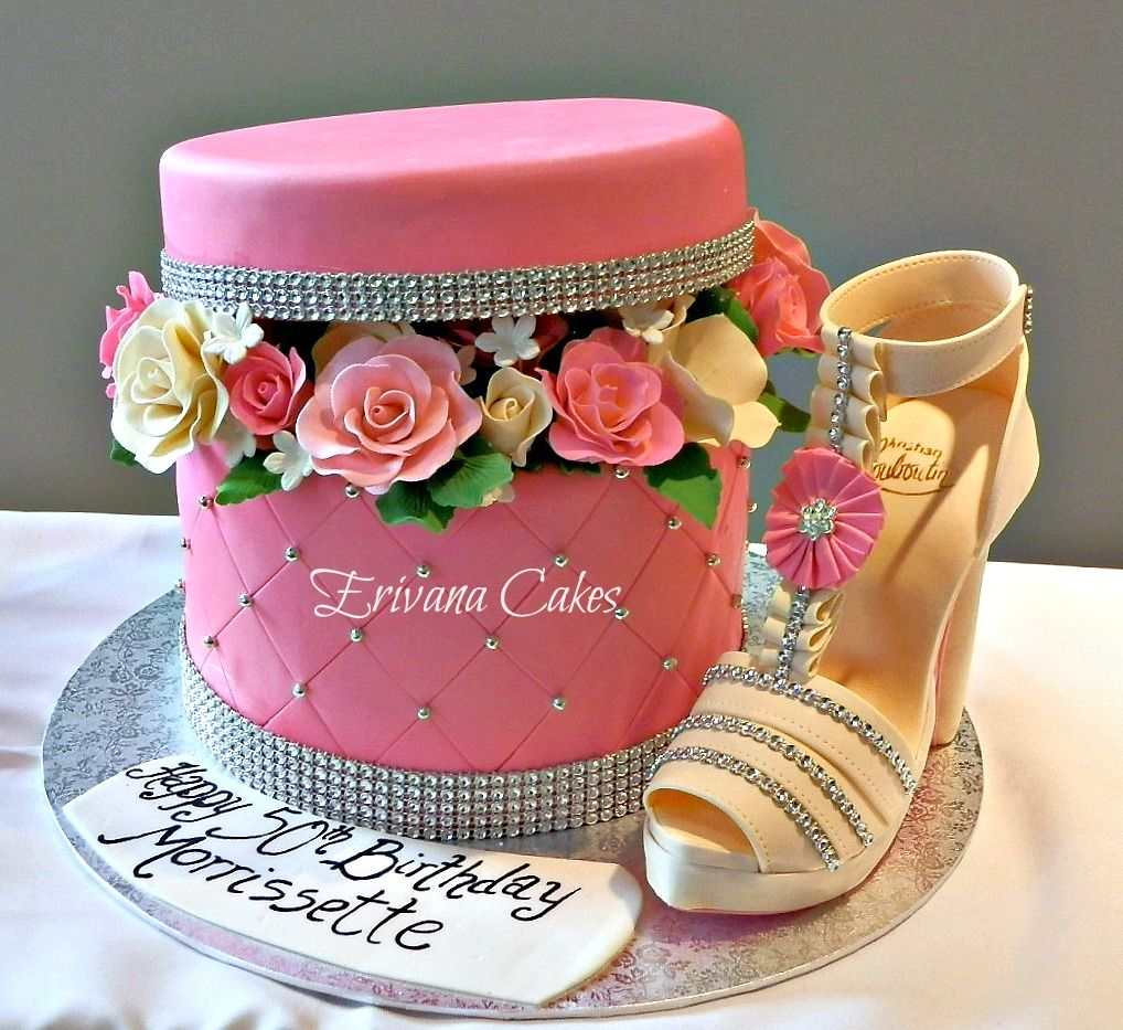 - Box of Flowers cake with gumpaste shoe