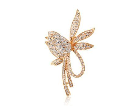 Amazon.com: Anna's Favorite DINGYA Flower Brooch with Shiny Stellux Austrian Crystal Decorations (Gold): Beauty