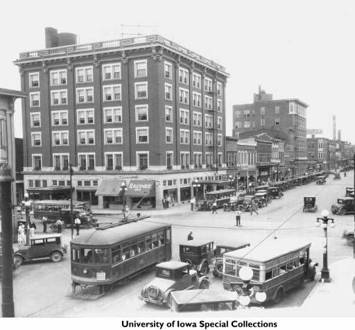 Busy Downtown Scene Near Racine S Cigar Store And Hotel Jefferson Iowa City Iowa Between 1920 And 1925 I Iowa City Jefferson Hotel The University Of Iowa