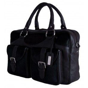 Zo ga je stijlvol en fashionable naar je zakelijke afspraken met deze zwart lederen businessbag.