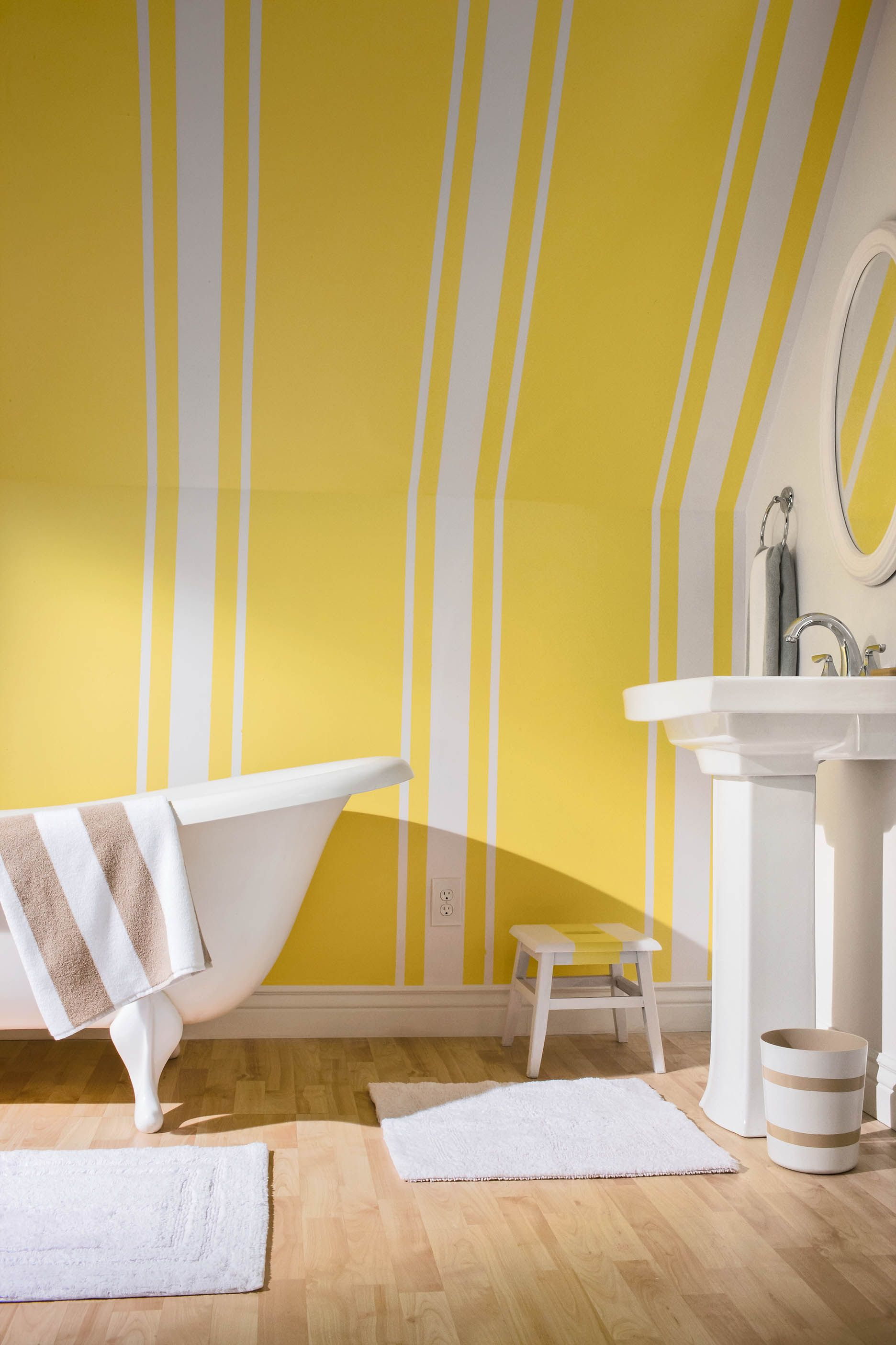 Bright colors really make a space look bigger. | Interior Striped ...