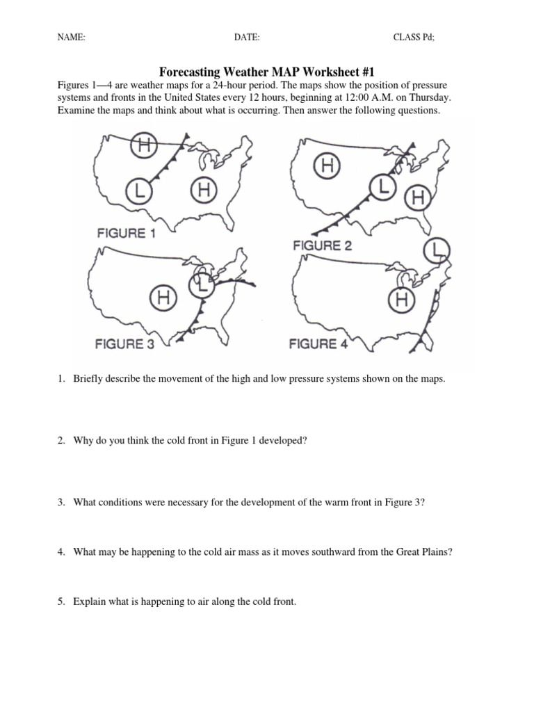 Predicting The Weather Worksheet Worksheets For School ...   Map worksheets [ 1024 x 768 Pixel ]