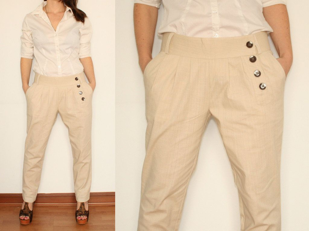 Linen Pants Tapered Trousers in Oatmeal Beige for Women. $35.00 ...