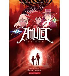 Looking for a good graphic novel?  Look no further.  Our Children's Librarian, Ms. Amanda, suggests checking out this title: Amulet, #7:  Firelight by Kazu Kibuishi.  Emily, Trellis, and Vigo visit Algos Island, where they can access and enter lost memories. They're hoping to uncover the events of Trellis's mysterious childhood -- knowledge they can use against the Elf King. What they discover is a dark secret that changes everything.