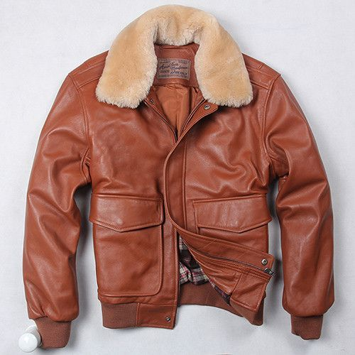 62d15bdb7d6 Avirex fly air force flight jacket fur collar genuine leather jacket men  winter dark brown sheepskin coat pilot bomber jacket