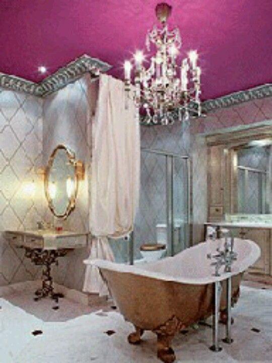 Pink Ceiling Silver Crown Molding Feminine Bathroom Glamorous Bathroom Beautiful Bathtubs