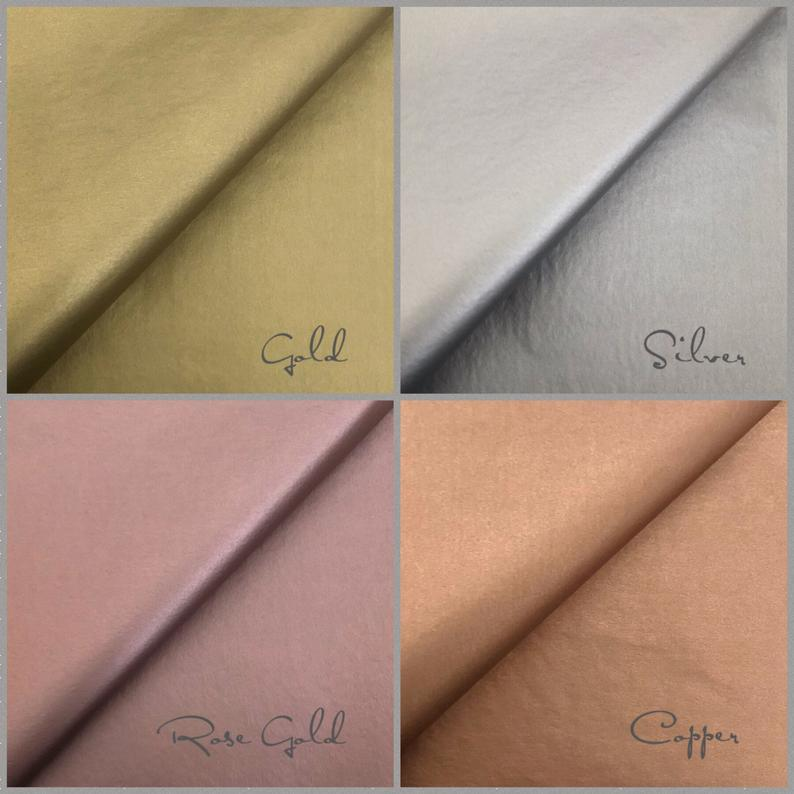 5x Sheets Gold Copper Silver Rose Gold Metallic Luxury Double Etsy Color Tissue Paper Gold Copper Silver Roses