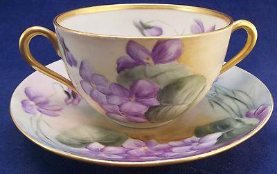 Vintage Purple Violets Hand Painted Double Handled Tea Cup Sauce Server Gravy | eBay