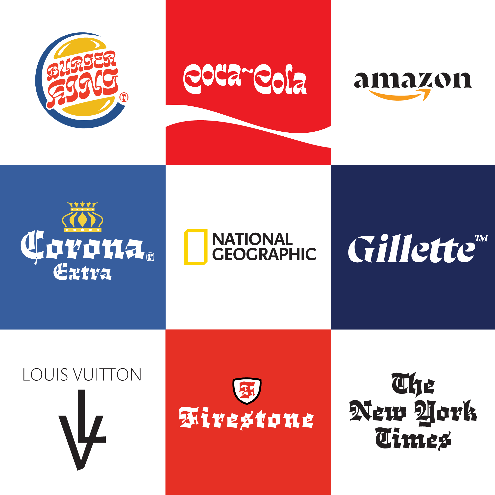 Famous logos but using fonts I designed myself. logo
