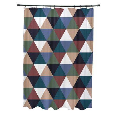 e by design Subline Geometric Shower Curtain Color: Rust/Blue