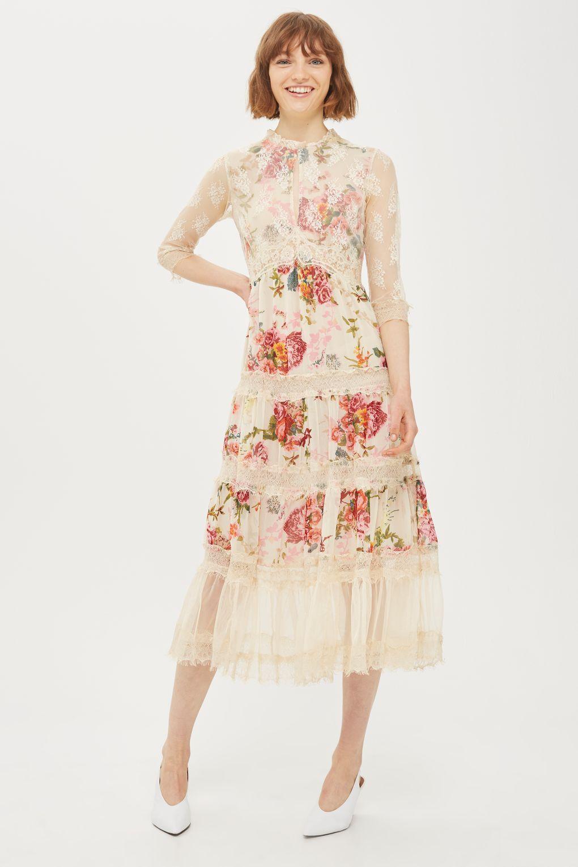 Lace Tier Floral Midi Dress