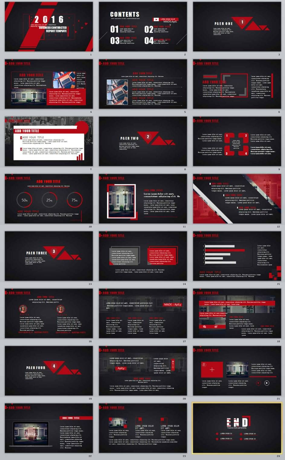24 Red Black Professional Powerpoint Templates เค า