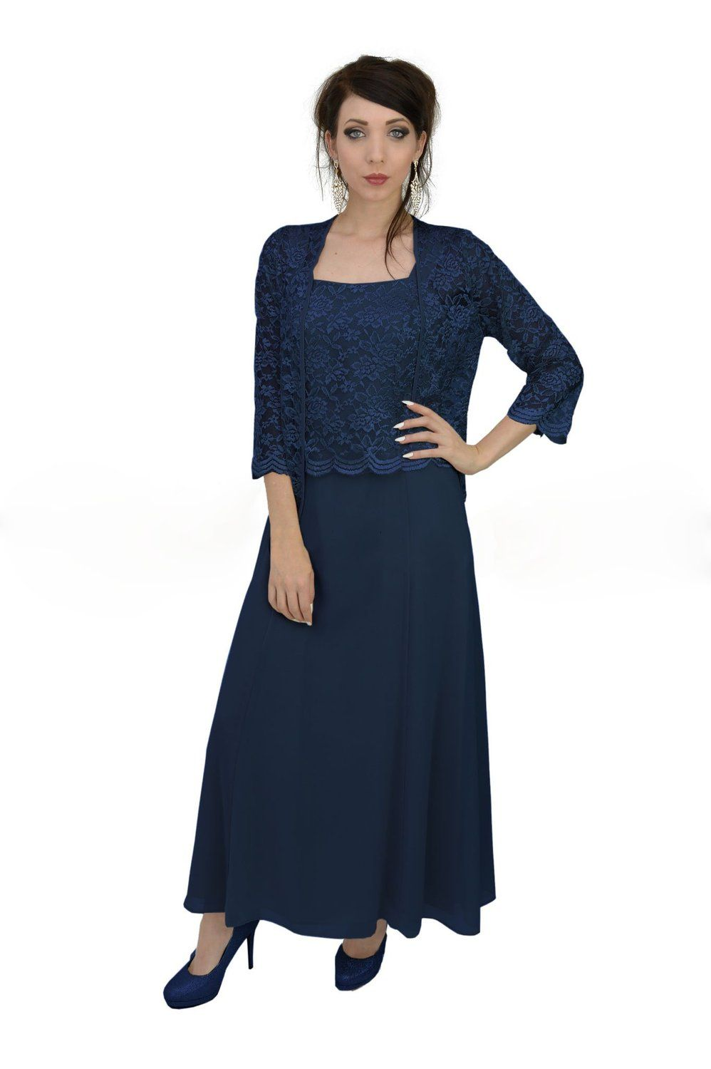 ffd96ca552ca Plus Size Womens Clothing Affordable. The Dress Outlet Long Formal Lace  Dress Jacket Mother of the Bride at Amazon Women's Clothing store: