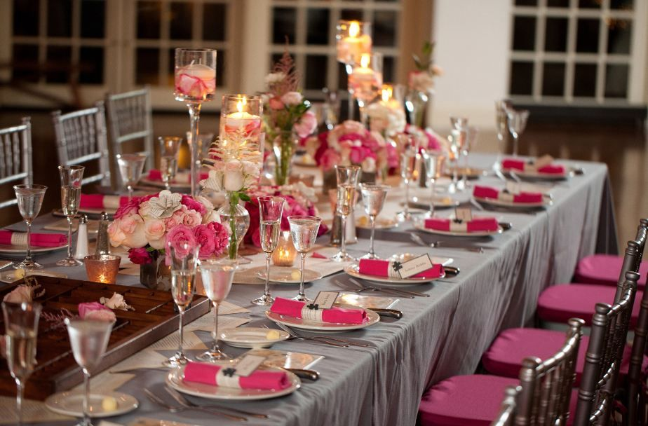 Long U shaped royal table with silver chiavari chairs, hot